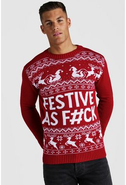 Mens Red Festive Slogan Knitted Christmas Jumper
