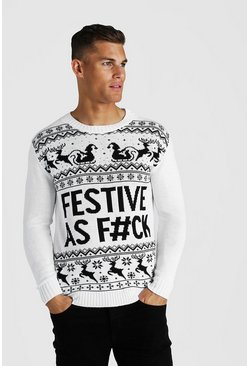 Mens White Festive Slogan Knitted Christmas Jumper