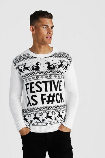 White Festive Slogan Knitted Christmas Jumper