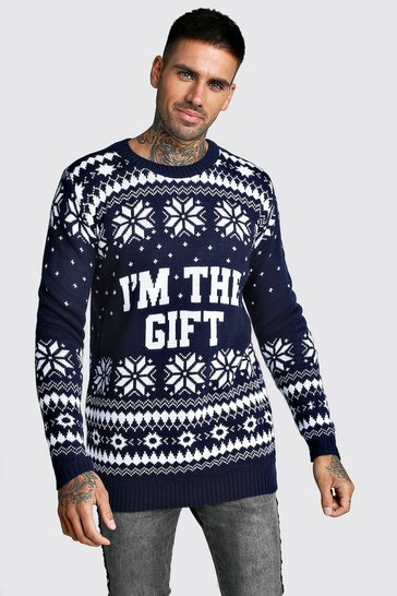 Mens Navy I'm The Gift Knitted Christmas Jumper