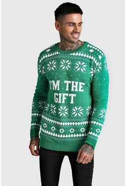Herr Green I'm The Gift Knitted Christmas Jumper