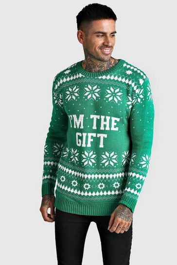 Mens Green I'm The Gift Knitted Christmas Jumper