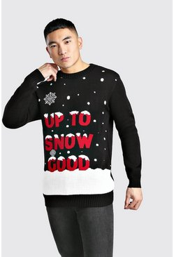 Herr Black Up To Snow Good Knitted Christmas Jumper
