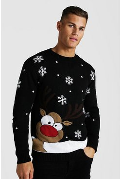 Mens Black Reindeer & Snowflake Knitted Christmas Jumper