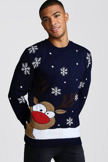 Navy Reindeer & Snowflake Knitted Christmas Jumper