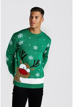 Mens Green Reindeer & Snowflake Knitted Christmas Jumper
