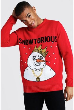 Mens Red Snowtorious Knitted Christmas Jumper