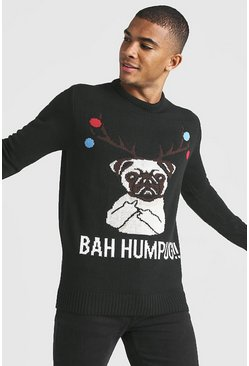 Black BAH Humpug Knitted Christmas Jumper