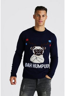 Mens Navy BAH Humpug Knitted Christmas Jumper