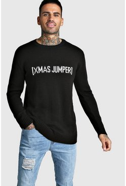 Mens Black Slogan Knitted Christmas Jumper