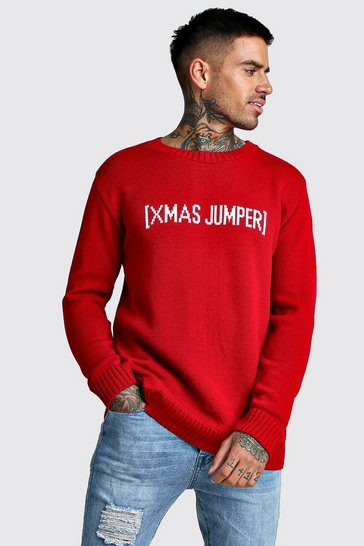 Mens Red Slogan Knitted Christmas Jumper