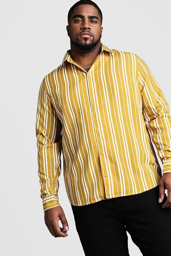Mustard Big and Tall Long Sleeve Regular Collar Shirt