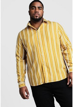 Mens Mustard Big and Tall Long Sleeve Regular Collar Shirt