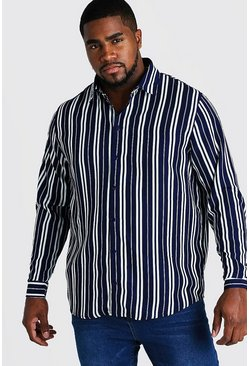 Mens Navy Big and Tall Long Sleeve Regular Collar Shirt