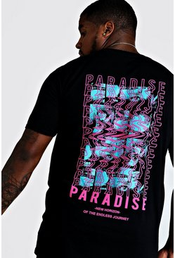 Mens Black Big And Tall Paradise 3D Back Print T-Shirt