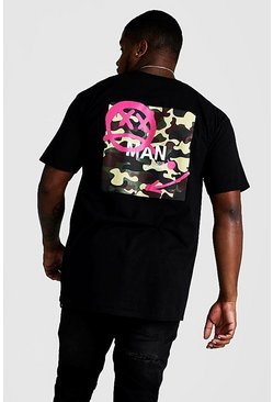 Mens Black Big And Tall Graffiti Camo Print T-Shirt
