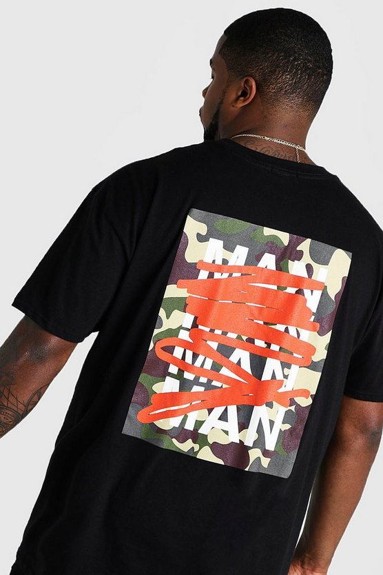 Mens Black Big And Tall MAN Repeat Graffiti Print T-Shirt