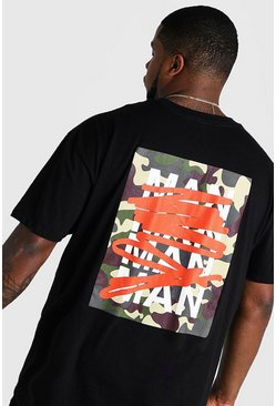 Camiseta con estampado de grafiti MAN repetido Big And Tall, Negro