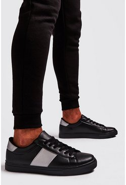 Mens Black Reflective Side Tape Trainer