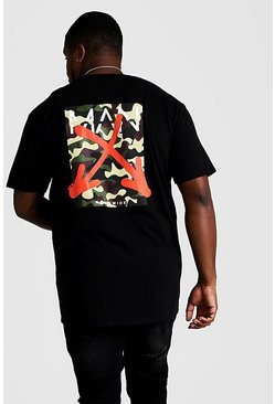 Herr Black Big And Tall MAN Graffiti Arrow Print T-Shirt