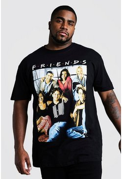 T-shirt Big And Tall ufficiale Friends Cast, Nero