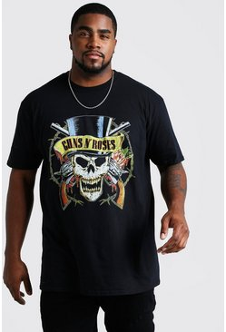 Black Big And Tall Guns N Roses Skull License T-Shirt