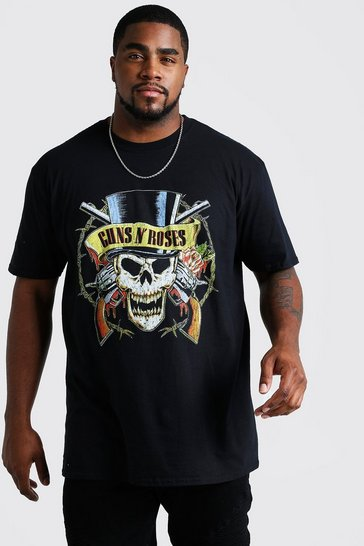 Mens Black Big And Tall Guns N Roses Skull License T-Shirt