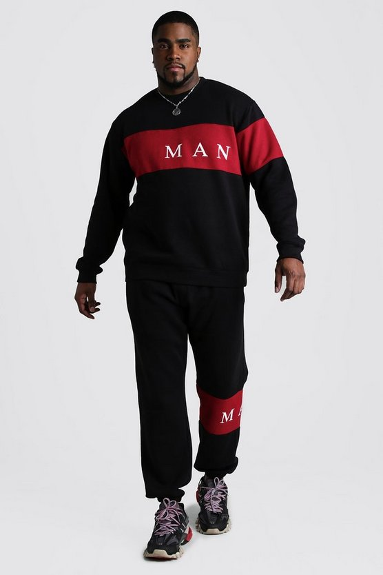 Black Big And Tall MAN Contrast Panel Tracksuit