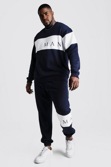 Mens Navy Big And Tall MAN Contrast Panel Tracksuit