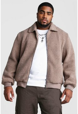 Mens Taupe Big And Tall Borg Harrington