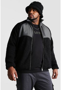 Mens Black Big And Tall Fabric Mix Borg Jacket