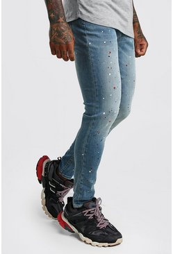 Mid blue Skinny Stretch Jean With Paint Splat