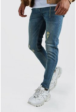 Mens Light blue Skinny Jeans With Abrasions