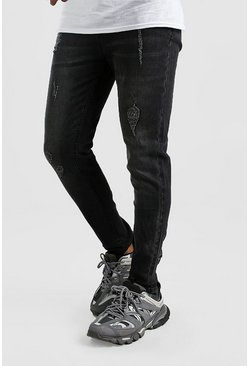 Mens Grey Skinny Jeans With Abrasions