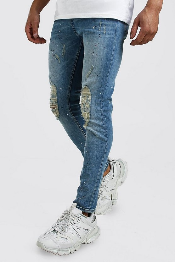 Light blue Skinny Paint Splat Jeans