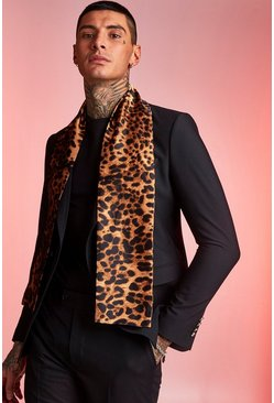 Mens Leopard Silky Dress Scarf