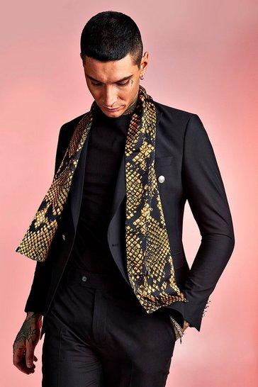 Mens Animal Snake Silky Dress Scarf