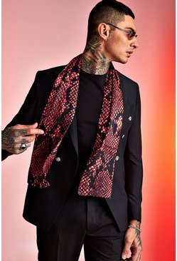 Mens Red Snake Silky Dress Scarf
