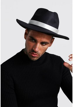 Mens Black Metallic Tape Fedora
