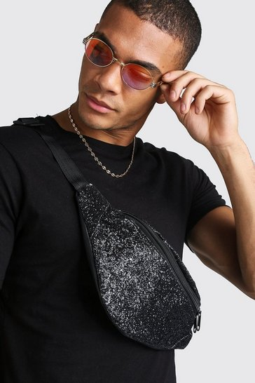 Mens Black Glitter Party Bumbag