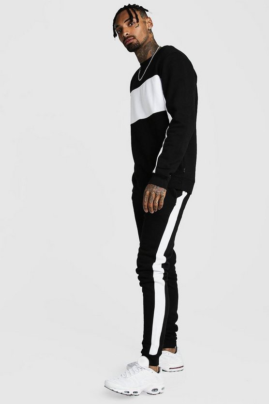 Black Sweater Tracksuit With Contrast Panels