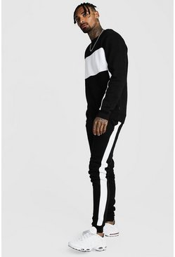 Mens Black Sweater Tracksuit With Contrast Panels