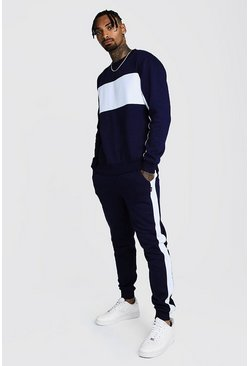Mens Navy Sweater Tracksuit With Contrast Panels