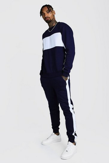 Navy Sweater Tracksuit With Contrast Panels