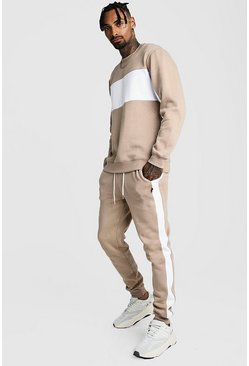 Mens Taupe Sweater Tracksuit With Contrast Panels