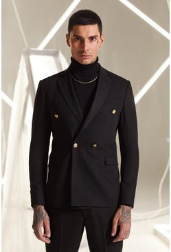 Black Skinny Fit Double Breasted Suit Jacket With Buttons