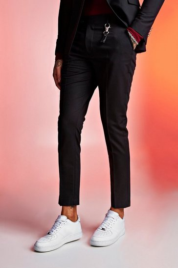 Mens Black Skinny Fit Crop Suit Trousers