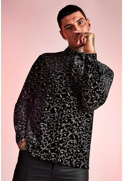 Mens Black Long Sleeve Velour Leopard Shirt