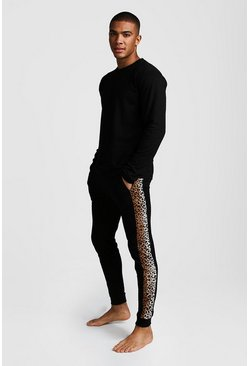 Herr Black Leopard Panel Long Sleeve Lounge Set