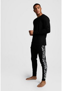 Herr Black Snake Panel Long Sleeve Lounge Set
